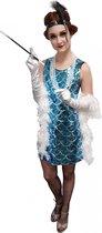 Glitterjurk blauw - Maat M