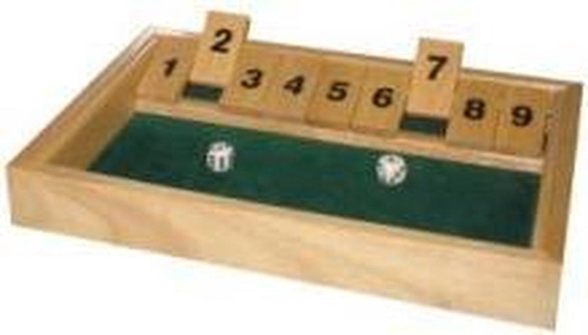 Hot games Shut the box klein 9 cijfers 28x20x3cm hout