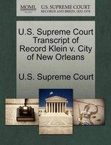 U.S. Supreme Court Transcript of Record Klein V. City of New Orleans