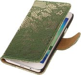Donker Groen Lace Booktype Samsung Galaxy A3 2016 Wallet Cover Hoesje