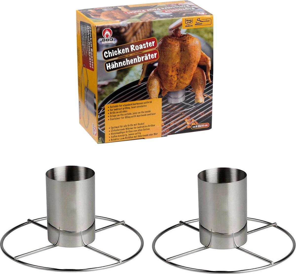 2 x RVS Kiprooster - kiphouder voor de barbecue