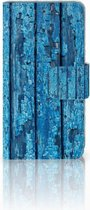 Samsung Galaxy A3 2015 Bookcase Hoesje Wood Blue
