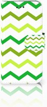 Samsung Galaxy A3 2017 Uniek Bookcase Hoesje Zigzag Groen
