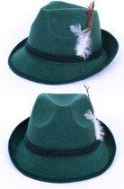 Tiroler hoed donkergroen jagershoedje Oktoberfest groen hoedje met veer lederhosen Tirol bierfeest
