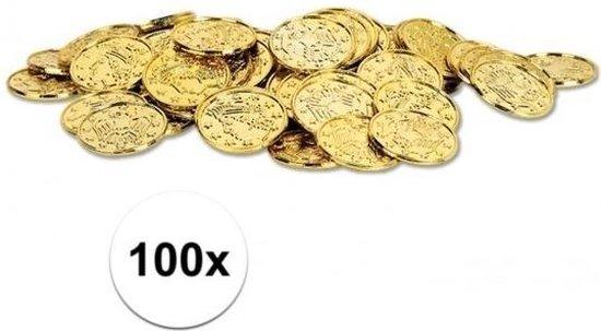 Gouden schatkist munten 100 stuks