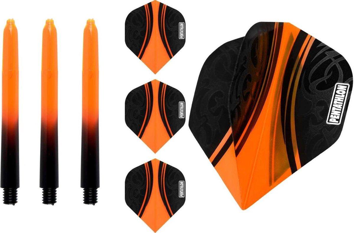 ABC Darts Flights Pentathlon - Dart flights en Medium Dart Shafts - Oranje - 3 sets