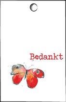 Cadeaulabel - kaartje - Bedankt - minicard - kaartje met vlinder