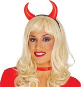 Diadeem met duivel hoorntjes - Duivelhoorntjes - Halloween/horror verkleed accessoire