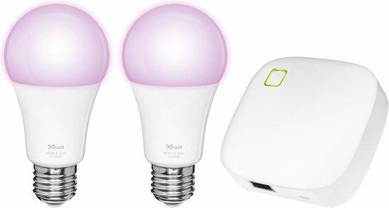 Trust Smart Home - Starterset 2 Dimbare E27 Led Lampen - White and Color + ZigBee Bridge