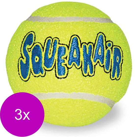 Kong Air Squeaker Ball Geel - Hondenspeelgoed - 3 x Xsmall