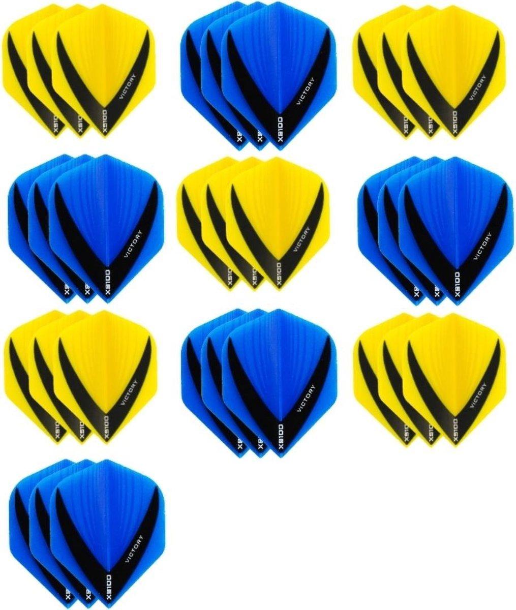10 sets (30 stuks) - XS100 Vista flights - duo kleur pakket - Geel en Aqua/Blauw - flights - dartflights