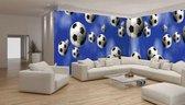 Fotobehang Vlies Voetbal   Blauw, Wit   GROOT 624x219cm