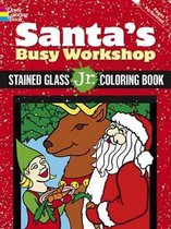 Santa's Busy Workshop Stained Glass Jr. Coloring Book