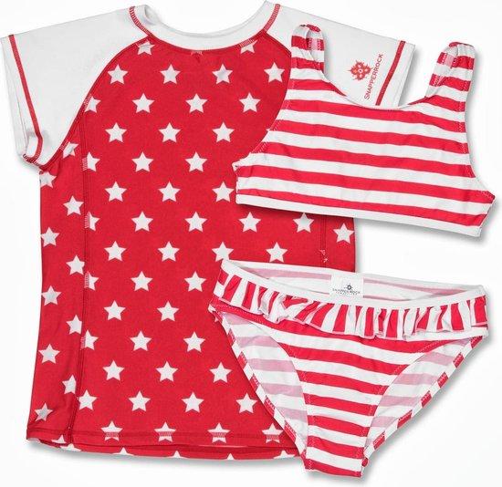 SnapperRock UV werende meisjes zwemkleding bikini en shirtje - stars and stripes