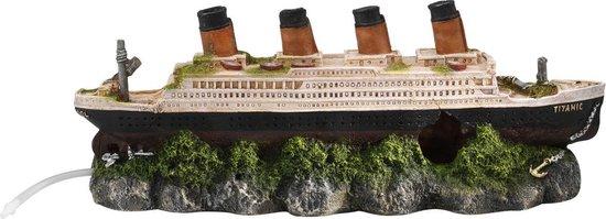 Aqua Della Aquarium Scheepswrak Titanic Met Luchtsteen - 39 x 11 x 14 cm