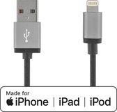 DELTACO IPLH-228F, Gestoffeerde USB naar Apple Lightning charge & sync MFI kabel, zwart, 2m