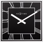 NeXtime Square - Klok - Vierkant - Glas - 20x20 cm - Zwart