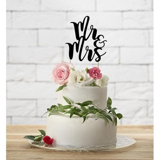 Bol Com Bruidstaart Decoratie Topper Mr Mrs Zwart 25 Cm Huwelijk Trouwerij Versiering