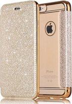 Luxe Crystal Folio Flip hoesje - Book case voor Apple iPhone 7 Plus - iPhone 8 Plus - Goud - Glitters - Bling Bling - Hoogwaardig PU leer - Soft TPU binnenkant cover
