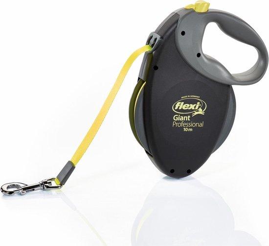 Flexi - Giant Tape - Hondenriem - Zwart/geel - L - 10 m - Tot 50 kg