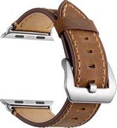 Bandje kalfsleer bruin geschikt voor Apple Watch 42mm en 44mm (alle generaties)