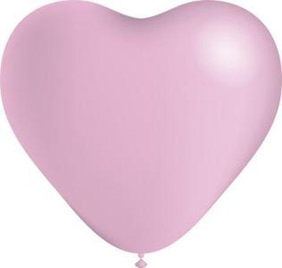 Lichtroze Hartjes Ballonnen 25cm 6st