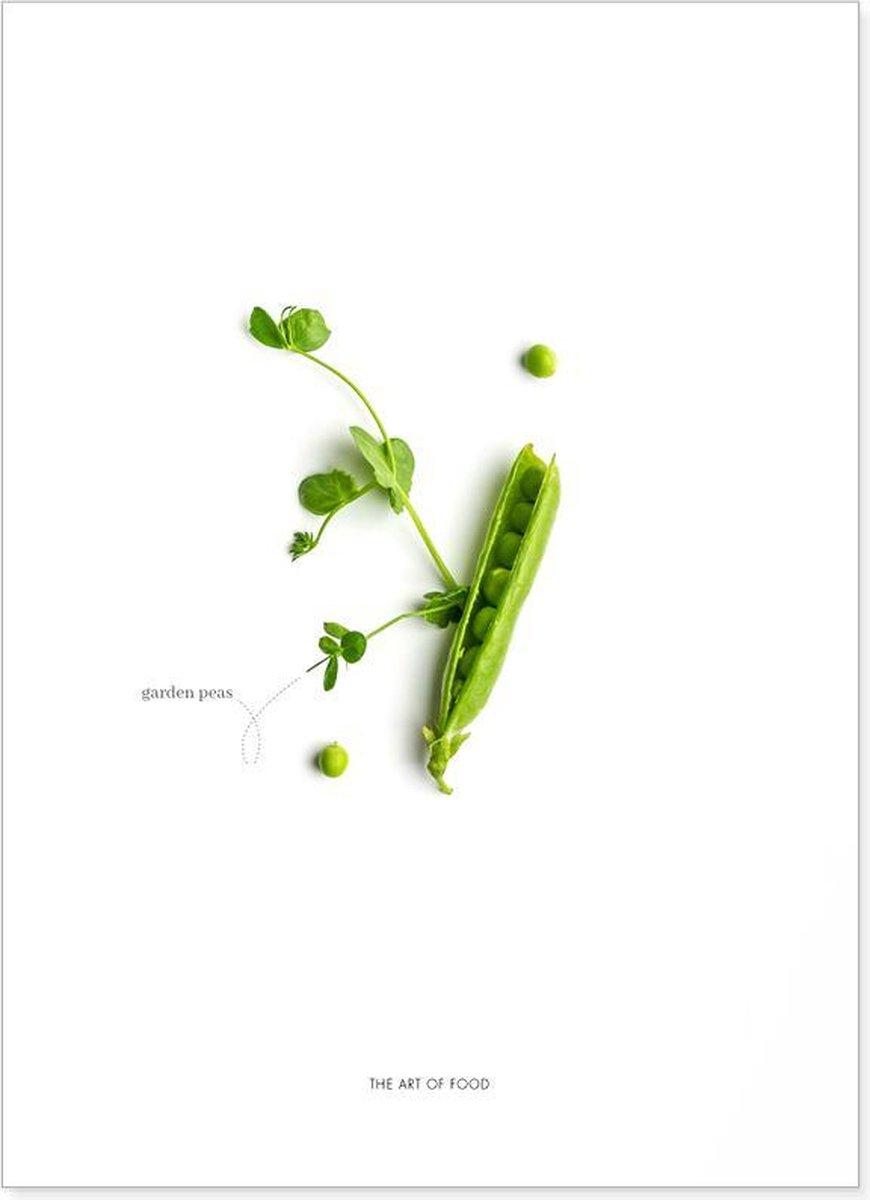 Food art print met doperwten compositie   Postcard om op te sturen of voor in de keuken of woonkamer   Wanddecoratie voor in een Scandinavisch interieur of boven de eettafel in de eetkamer  Prints gedrukt op FSC gecertificeerd papier   13x18