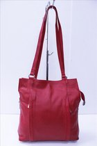 Dames rugzak en schoudertas Rood rugtas echt leren - 2 in 1 - schoudertas – rugzak