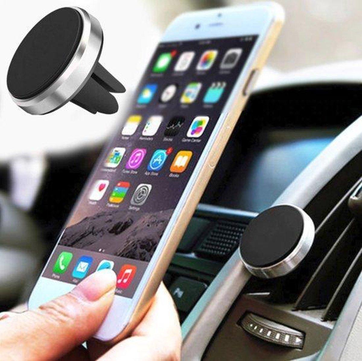 Universele Magneet Telefoon Houder - voor in de auto - Ventilatierooster - Navigatie - Zilver
