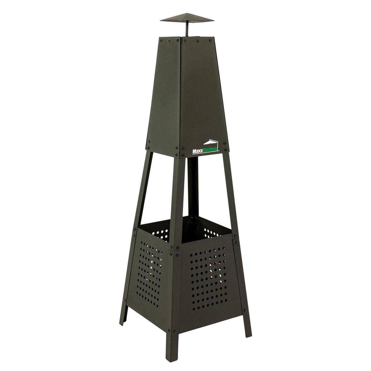 MaxxGarden vuurkorf Pyramide metaal - 35 x 35 x 100 cm