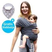 Baby Garden draagdoek grijs - Ergonomisch - Original - Gratis slabbetje