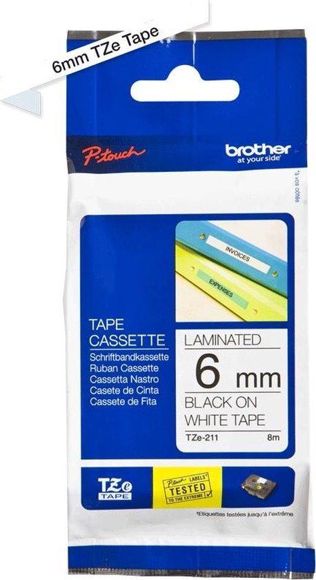 Brother TZ labelprinter tape - 6 mm x 8 m - Zwart op wit