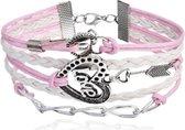 BY-ST6 meiden armband love in de kleur roze/wit