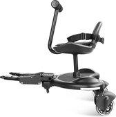 Buggy Board - Meerijdplankje met zitje en stuur - Universeel meerijdstoeltje kinderwagen - Inclusief inklapsysteem