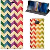 Sony Xperia 10 Hoesje met Magneet Zigzag Color