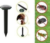 Ultrasone Verjager Op Zonne Energie - Bestrijd en Verjaagt Mollen - Ratten Vangen - Mollenklem - Bestrijden Geluid - Ongewenst Ongedierte Verdrijven - Muizen Verdrijver - Pest Repeller - Ultrasonic - Mollenverjager - Solar - Diervriendelijk