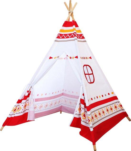 Sunny LED Tipi Tent Rood/wit - 60 LED lampjes - FSC houten palen - 120 x 120 x 160 cm
