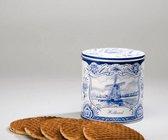 Heerlijke roomboter Stroopwafels in Delfts blauw blik