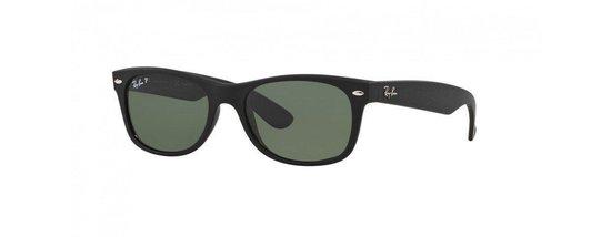 Ray-Ban RB2132 622/58 - zonnebril - New Wayfarer - Rubber Black/Green - Polarized - 52mm