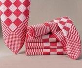 Homéé - Blokdoeken pompdoeken theedoeken rood / wit  set van 6 stuks   65x65cm