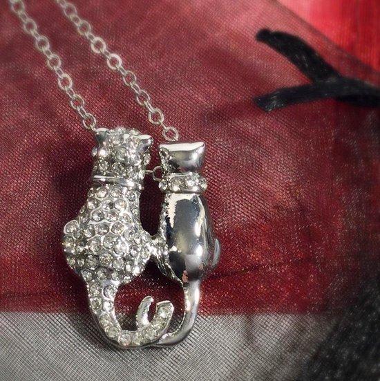 schattige kat ketting - zilver