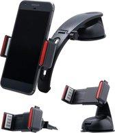 Shop4 - Universele Telefoonhouder Auto Kit 3 in 1 Dashboard- en Ventilatiehouder Zwart Autohouder tot 6 inch