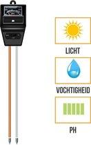 PH Meter | Vochtmeter | Lichtmeter | 3-in-1 | Grond | Tuin | Bodem | Planten | Vochtigheidsmeter | Zwart