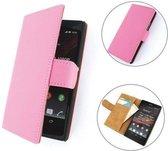 TCC Luxe Hoesje Sony Xperia C Book Case Flip Cover C2305 - Roze