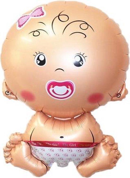 Grote XL roze baby meisje ballon geboorte 75 cm