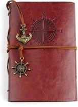 Afbeelding van KELERINO. vintage Lederen Notitieboek met windroos  - Bruin