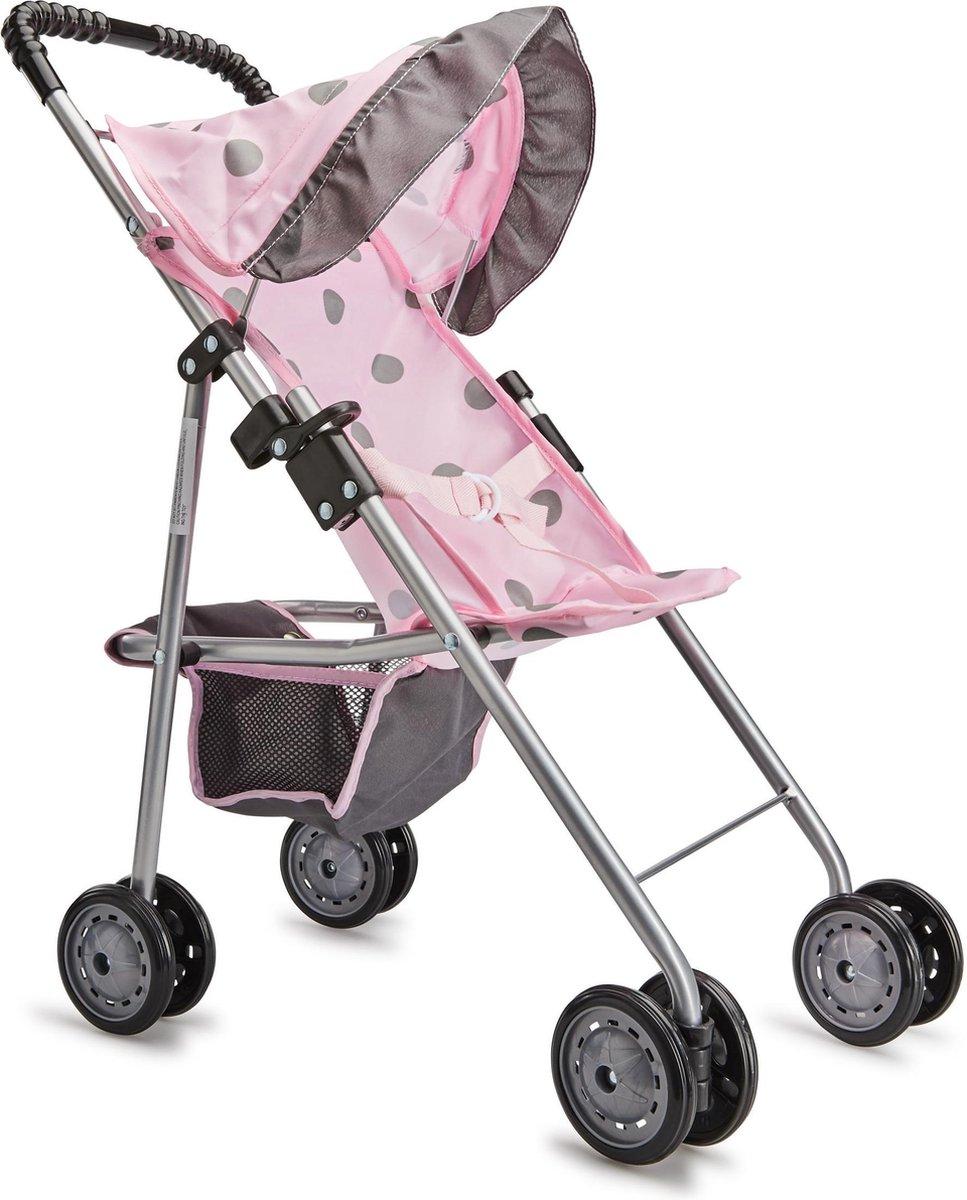 Baby Rose Poppenwagen met Zonnescherm - Johntoy
