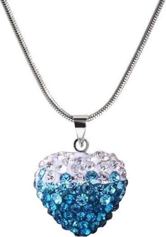 Fako Bijoux® - Ketting - Disco Dots - Hart Duo - Lichtblauw