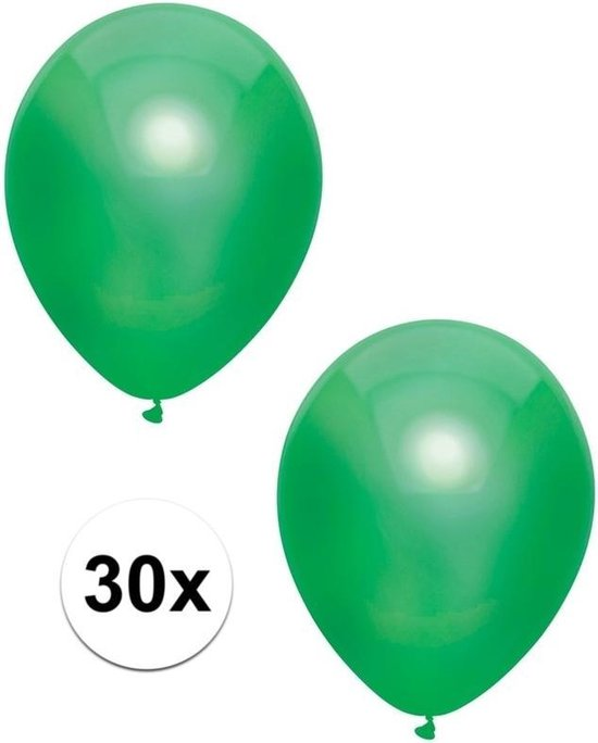30x Donkergroene metallic ballonnen 30 cm - Feestversiering/decoratie ballonnen donkergroen