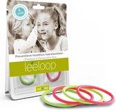 Leeloop preventieve hoofdluis haarelastieken - 4 Pack - 2x Groen 2x Roze